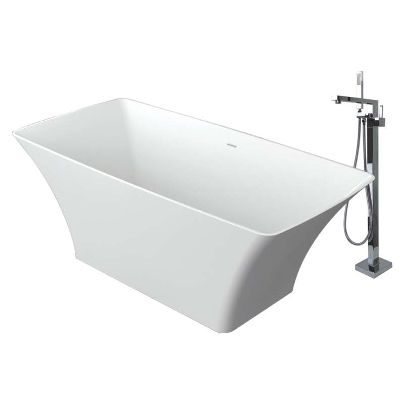 Transolid Lynville Resin Stone 60-in Center Drain Freestanding Tub and Faucet Kit
