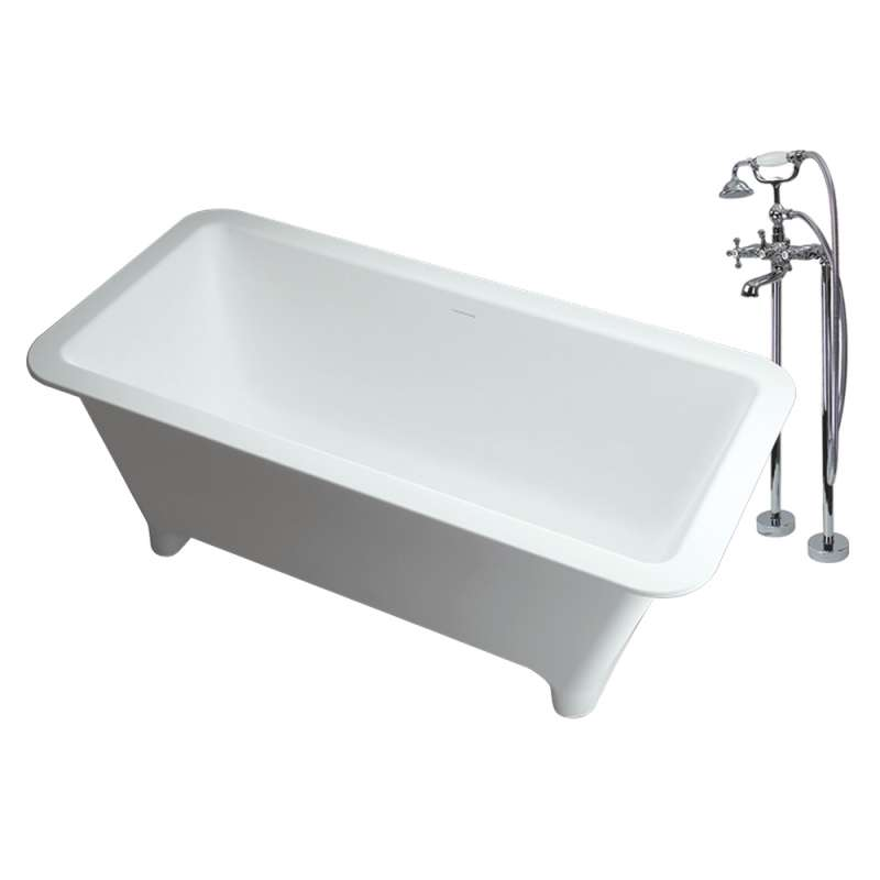 Transolid Milan Resin Stone 60-in Center Drain Freestanding Tub and Faucet Kit
