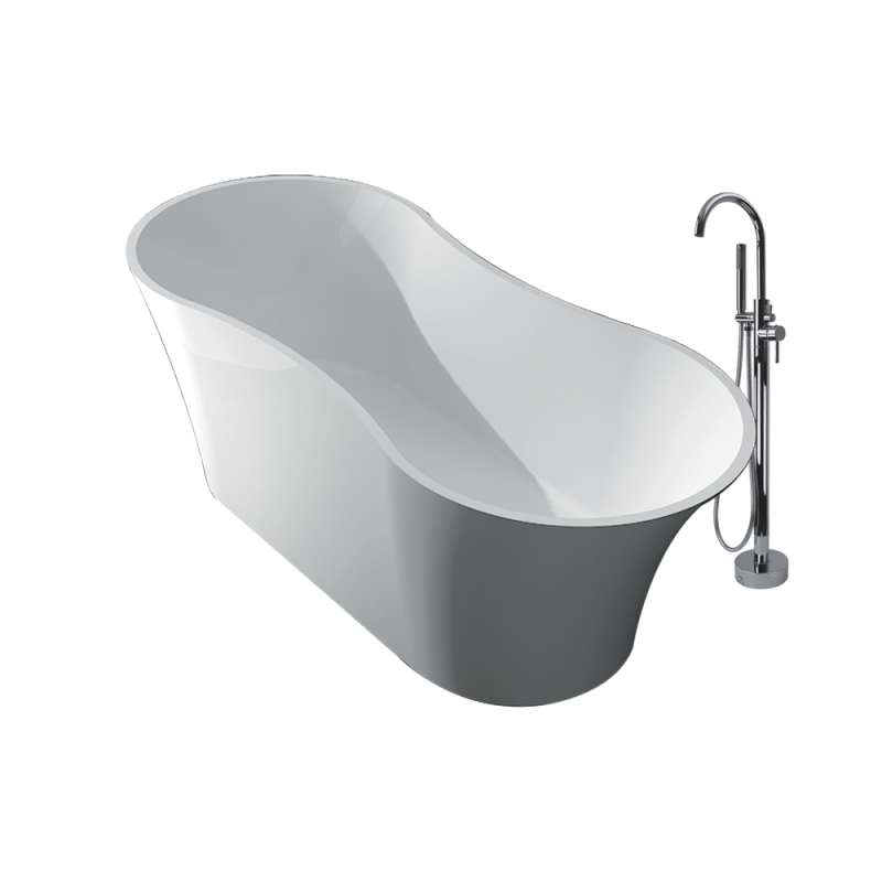 Transolid Muse Resin Stone 64-in Center Drain Freestanding Tub and Faucet Kit