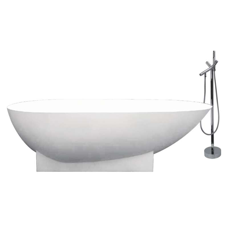 Transolid Shea Resin Stone 72-in Center Drain Freestanding Tub and Faucet Kit