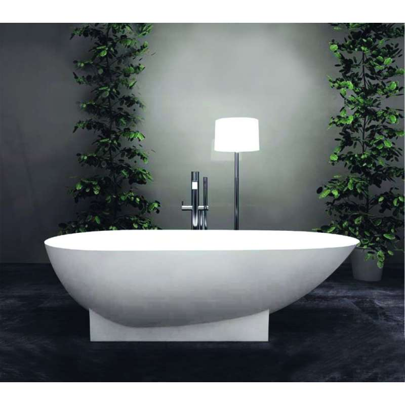 Transolid Shea Resin Stone 72 In Center Drain Freestanding Tub