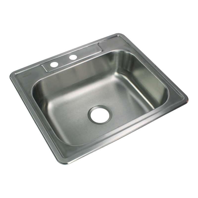 Transolid Select 25in x 22in 22 Gauge Drop-in Single Bowl Kitchen Sink with ML2 Faucet Holes