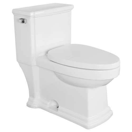 Transolid Hayes 1-Piece Elongated Vitreous China 1.28 gpf Toilet with toilet seat, White
