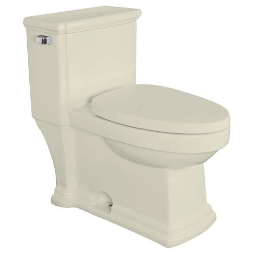 Transolid Hayes 1-Piece Elongated Vitreous China 1.28 gpf Toilet with toilet seat, Biscuit