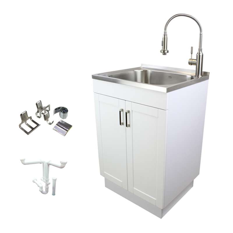 Transolid 24in All-in-One Laundry/Utility Sink Kit with Magnetic Sink Accessories
