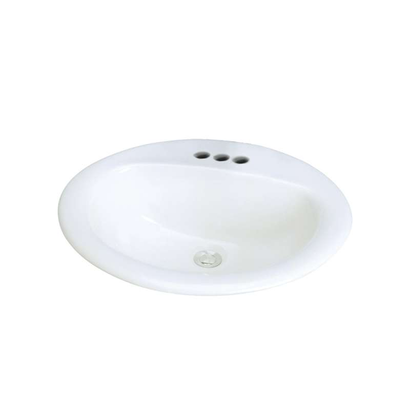 Transolid Akron Vitreous China 20-in Drop-in Lavatory with 4-in CC Faucet Holes