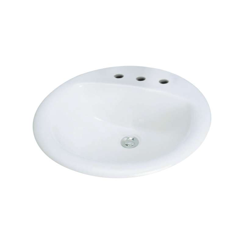Transolid Preston Vitreous China 19-in Round Drop-in Lavatory with 8-in CC Faucet Holes
