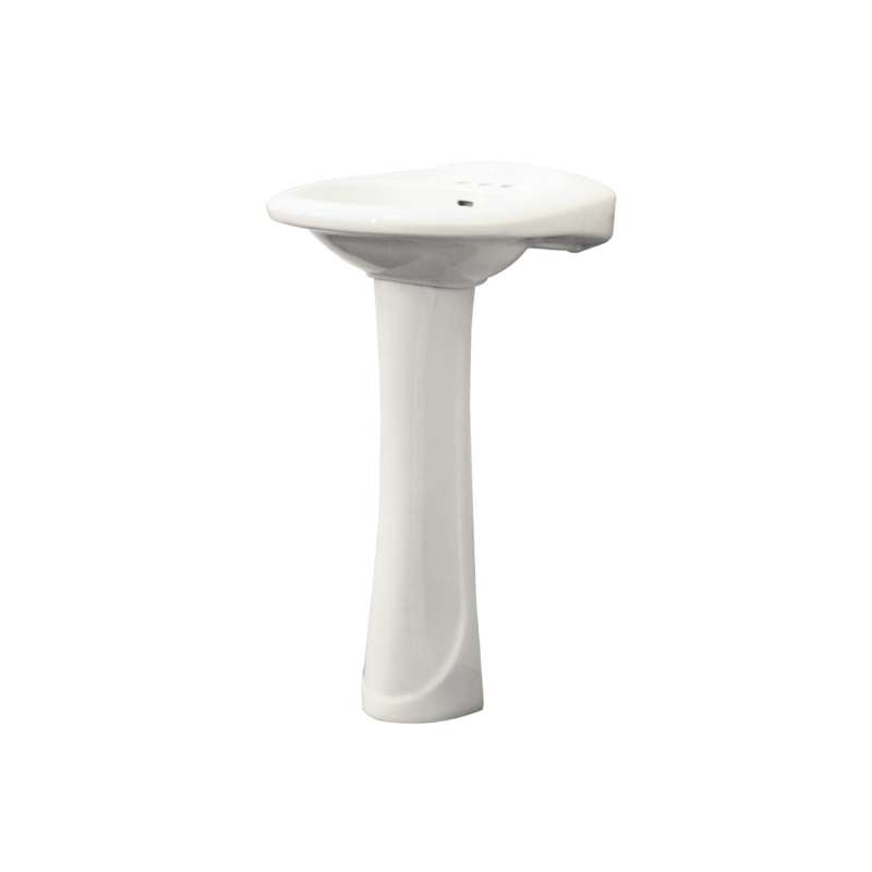 Transolid Madison Grande Vitreous China 2-Piece Pedestal Lavatory with 4-in Centerset Kit, in White
