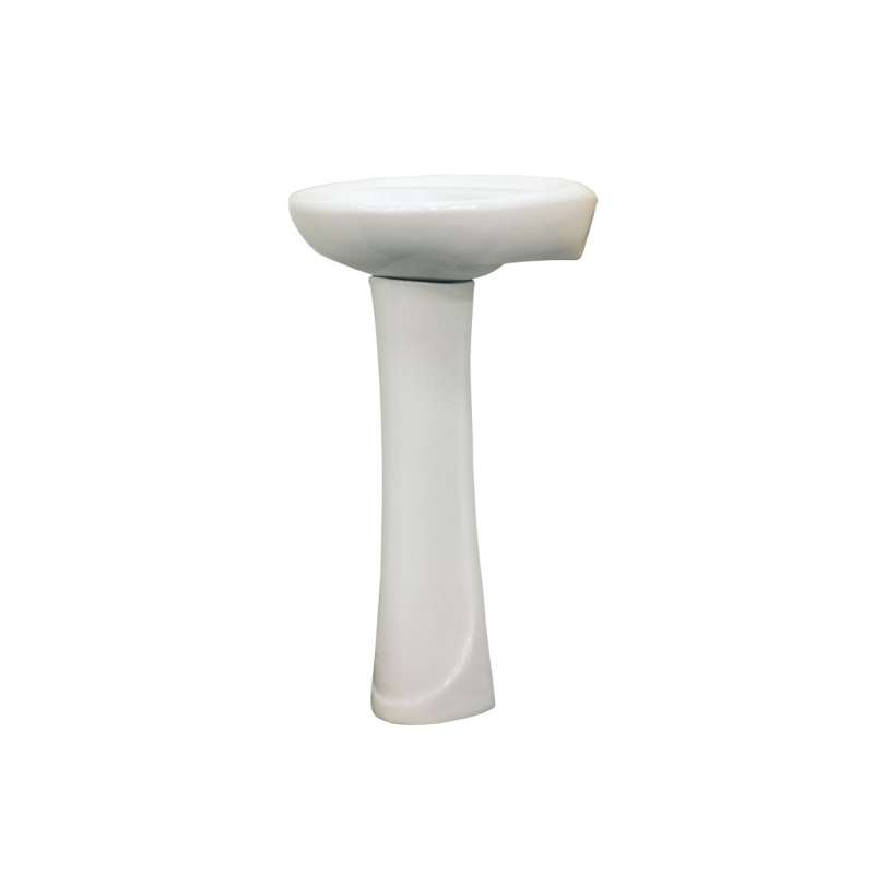 Transolid Madison Vitreous China 19-in Pedestal Sink with 4-in CC Faucet Holes