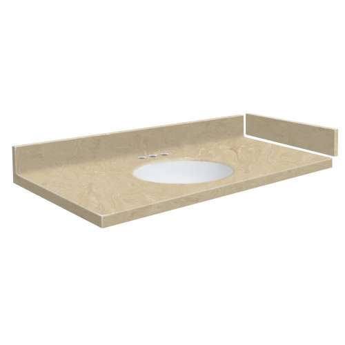 27.5 in. Solid Surface Vanity Top in Almond Sky with 4in Centerset