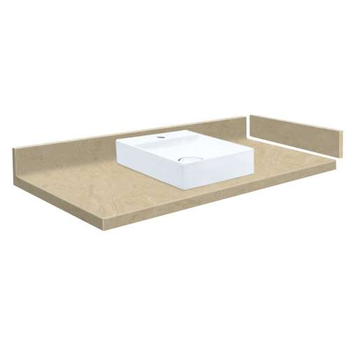 33.5 in. Solid Surface Vessel Vanity Top in Almond Sky with Single Hole