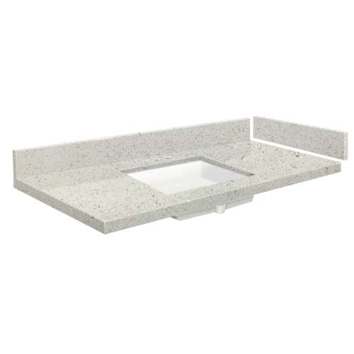 58 in. Quartz Vanity Top in Almond Delite with 8in Centerset