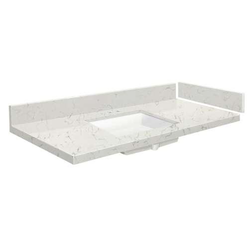 37 in. Quartz Vanity Top in Antique White with 8in Centerset