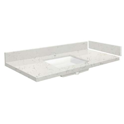 37 in. Quartz Vanity Top in Antique White with Single Hole