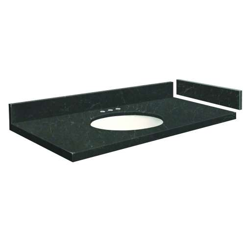 48.75 in. Quartz Vanity Top in Black Carrara with 8in Centerset