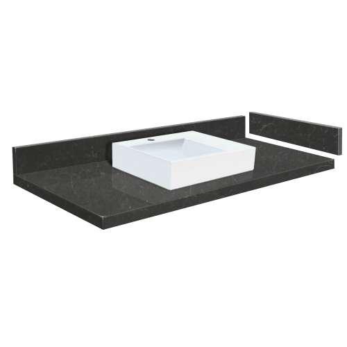 58 in. Quartz Vessel Vanity Top in Black Carrara with Single Hole