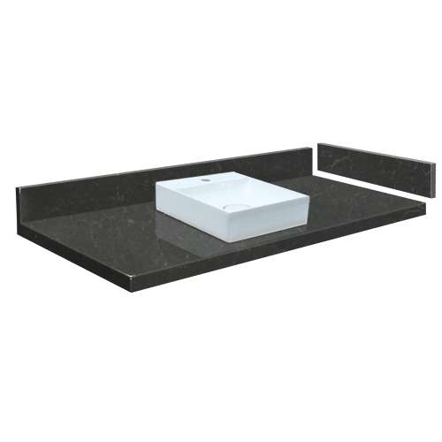 25.5 in. Quartz Vessel Vanity Top in Black Carrara with Single Hole