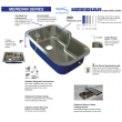 Transolid Meridian 25in x 22in Drop-in Single Bowl Kitchen Sink with 5-Holes with Grid, Strainer, Installation Kit