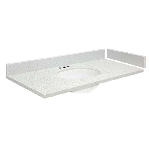 25 in. Quartz Vanity Top in Milan White with 4in Centerset