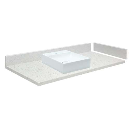 36.75 in. Quartz Vessel Vanity Top in Milan White with Single Hole