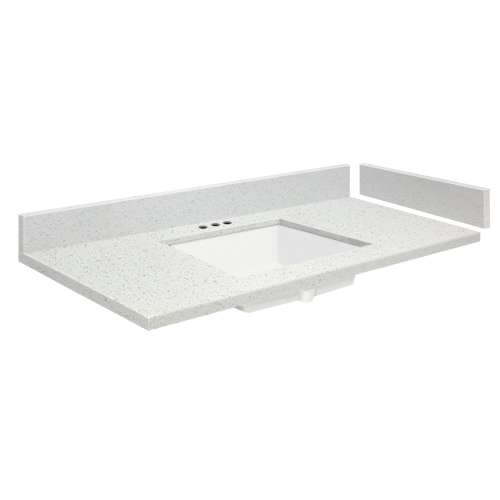 54.5 in. Quartz Vanity Top in Milan White with 4in Centerset