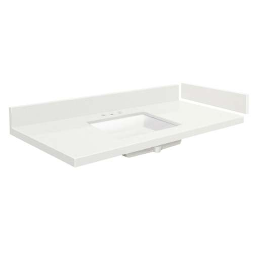 58.25 in. Quartz Vanity Top in Milan White with 8in Centerset