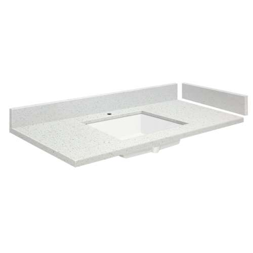 24.5 in. Quartz Vanity Top in Milan White with Single Hole