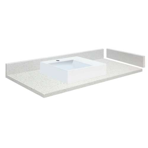 58 in. Quartz Vessel Vanity Top in Milan White with Single Hole