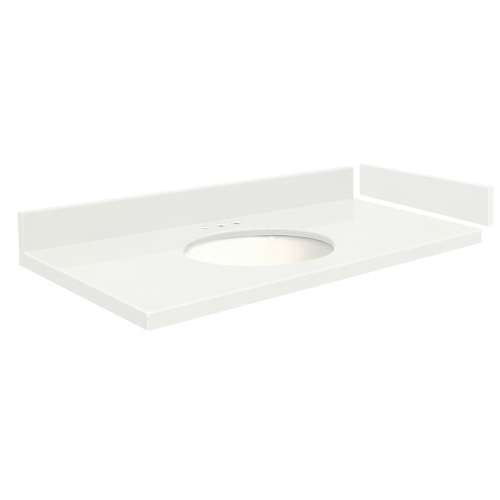 37 in. Quartz Vanity Top in Natural White with 8in Centerset