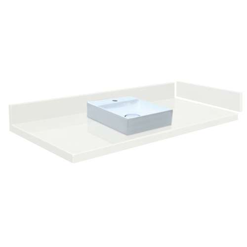 40.5 in. Quartz Vessel Vanity Top in Natural White with Single Hole