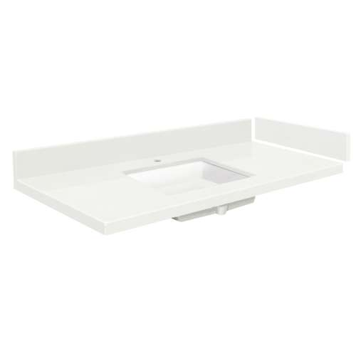 25.25 in. Quartz Vanity Top in Natural White with Single Hole