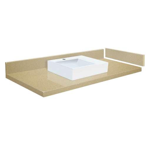 54.75 in. Quartz Vessel Vanity Top in Nature's Path with Single Hole