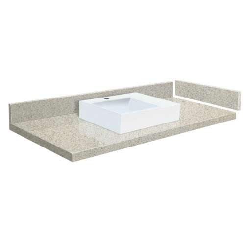 54.5 in. Quartz Vessel Vanity Top in Portage Pass with Single Hole