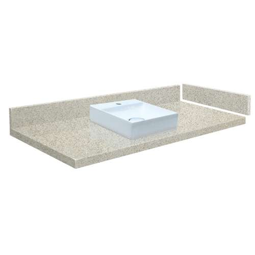 25.25 in. Quartz Vessel Vanity Top in Portage Pass with Single Hole