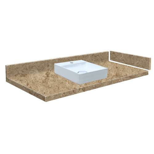 24.75 in. Solid Surface Vessel Vanity Top in Sand Mountain with Single Hole