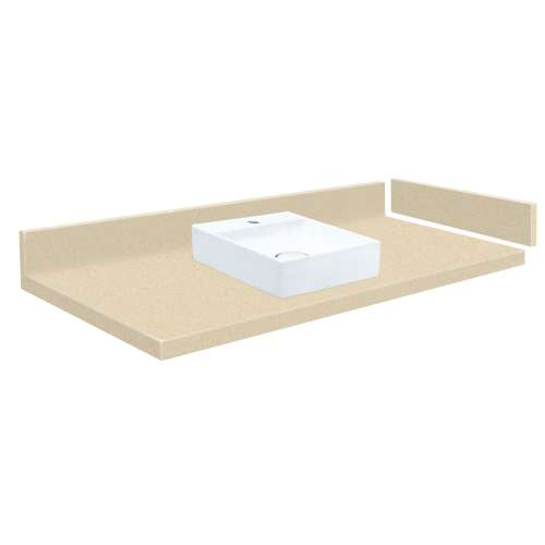 27.75 in. Solid Surface Vessel Vanity Top in Sea Shore with Single Hole