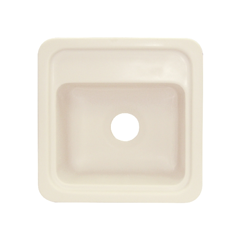Transolid Concord 18in x 18in Solid Surface Drop-in Single Bowl Kitchen Sink, in Almond