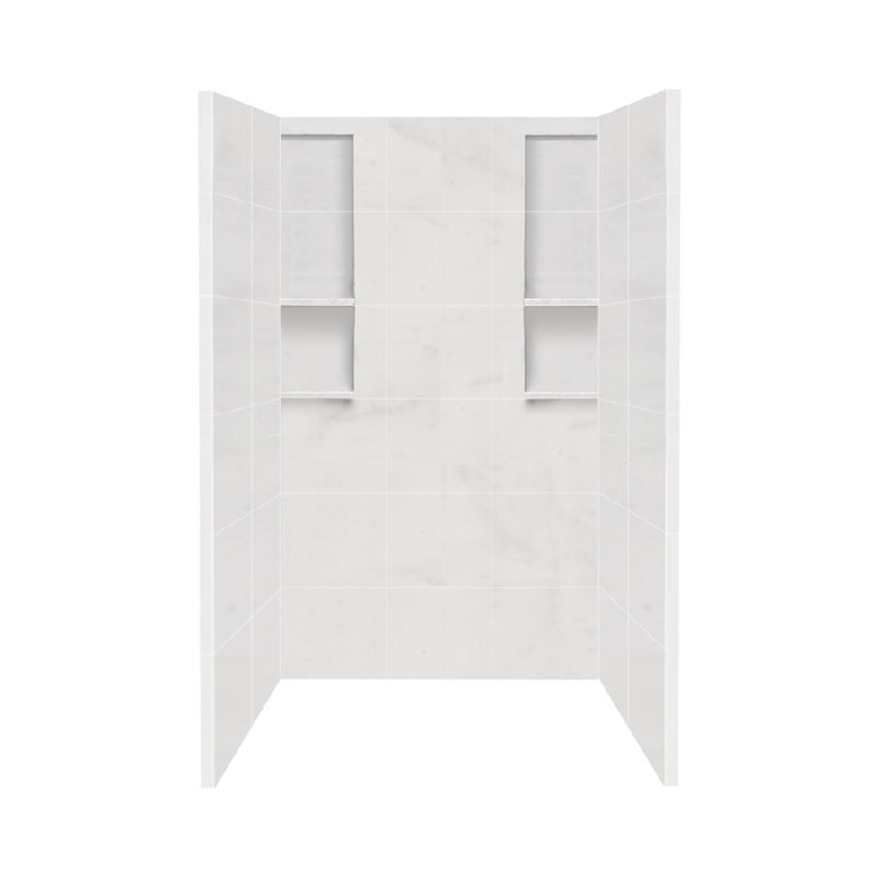 Transolid Direct-to-Stud Solid Surface 48-in x 80-in Shower Wall Surround