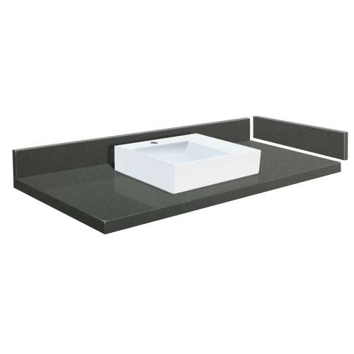 58.25 in. Quartz Vessel Vanity Top in Urban Grey with Single Hole