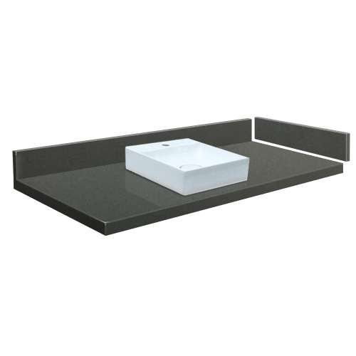 37 in. Quartz Vessel Vanity Top in Urban Grey with Single Hole