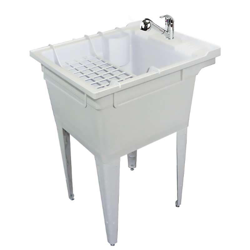 Transolid Compostite 22-in Floor Mounted Laundry Tub with Faucet and Accessory Kit