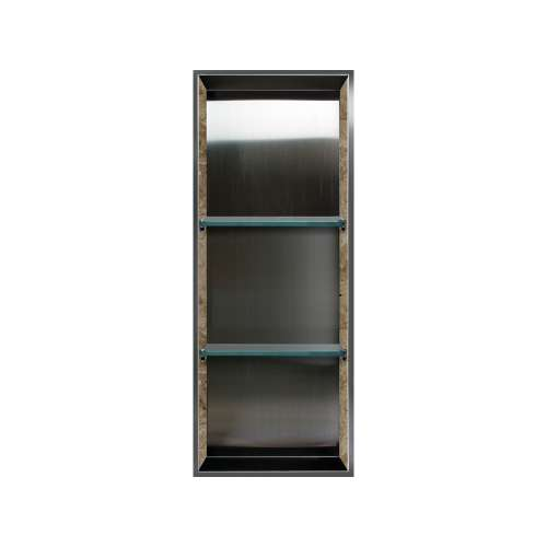 Transolid Studio 34.5-in. Recessed Stainless Steel/Solid Surface Shower Storage Pod STV13414-SS94