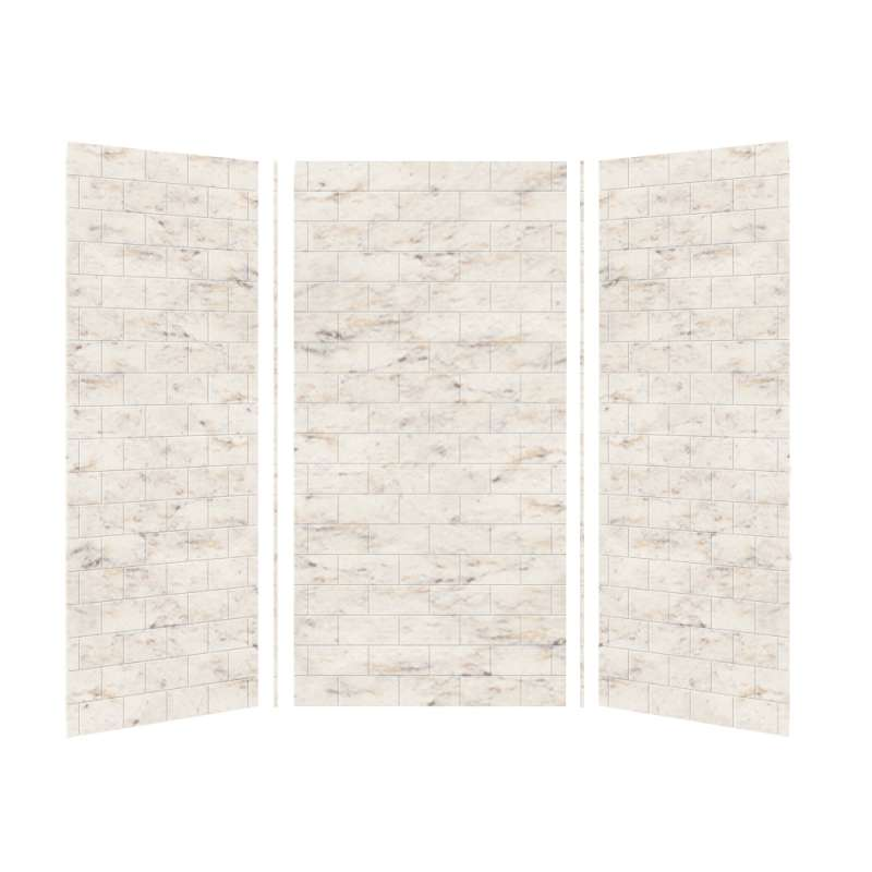 Transolid SaraMar 36-In X 36-In X 72-In Glue to Wall 3-Piece Shower Wall Kit